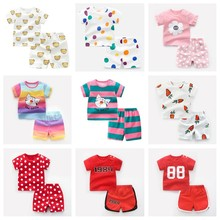 цена на Baby Boy Clothing Set Girls Cute Summer T-Shirt Cartoon Children Girls Boys Clothes Shorts Suit for Kids Outfit Denim Outfit