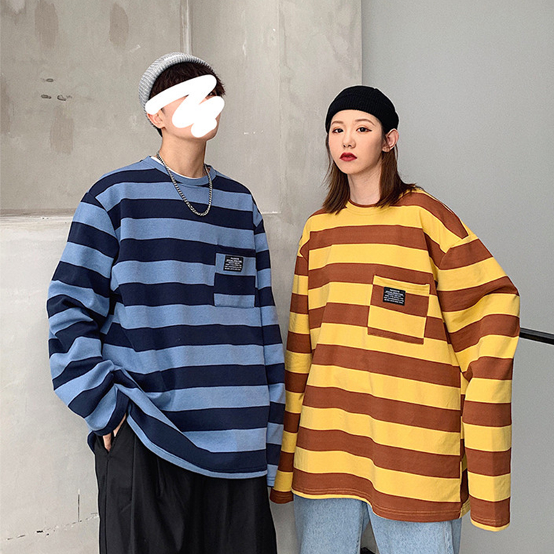 2019 Spring Autumn Hot Sale Pocket Striped Long Sleeve T Shirt Men Harajuku Casual Hip Hop Top Fashion Oversized Couple Clothes