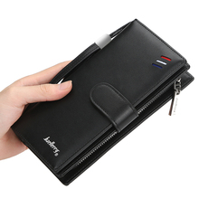 European and American new men's long wallet simple leather wallet large capacity business storage wallet