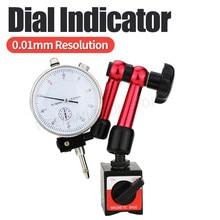 Indicador de discagem magnético titular dial gauge suporte magnético base micrômetro ferramenta medição tipo hora indicador ferramentas medição