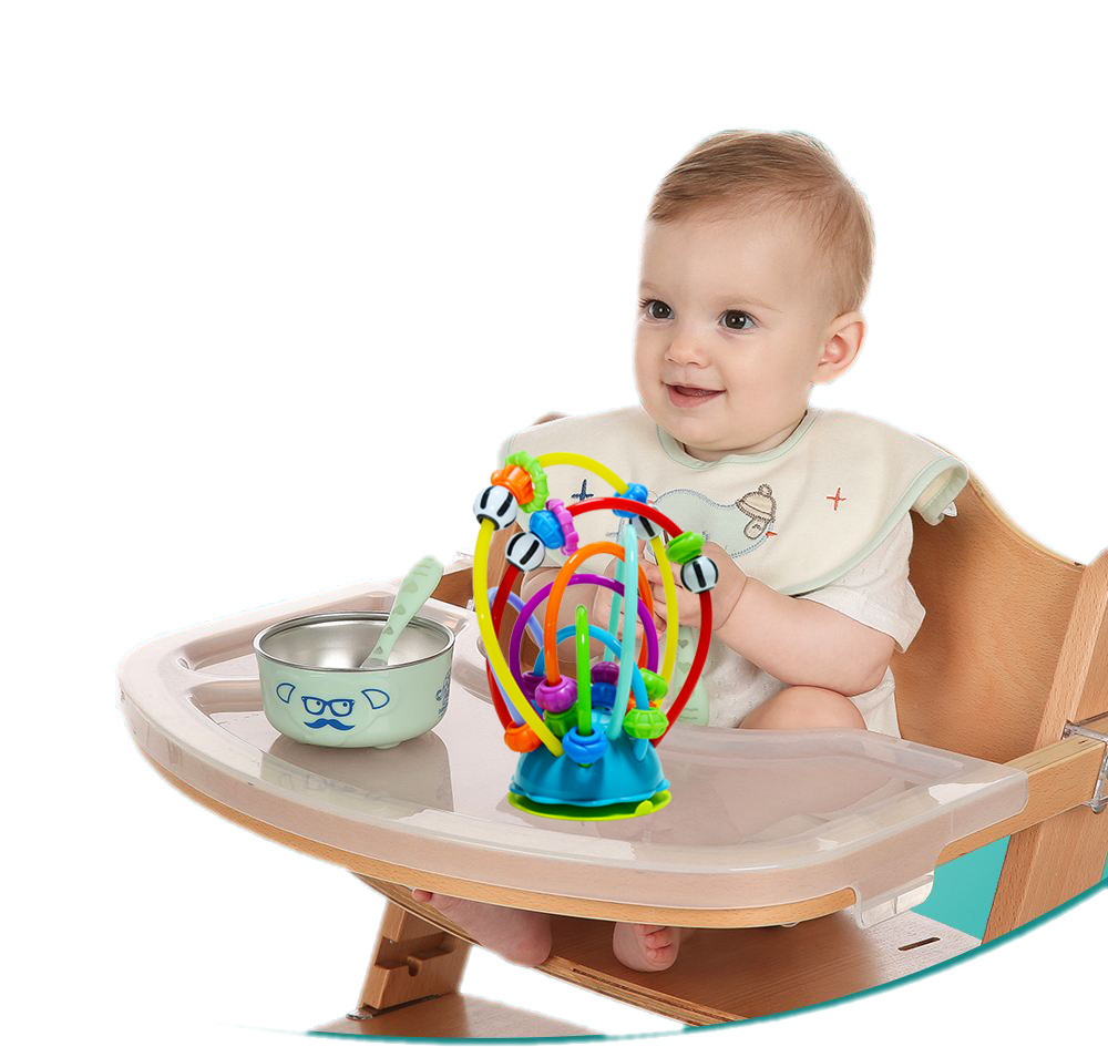 Colorful Bead-stringing Toy Table Sucker Toy Baby Pacify Toy Dining Chair Silica Gel Rattle Rattling Beads Color Ring Toy