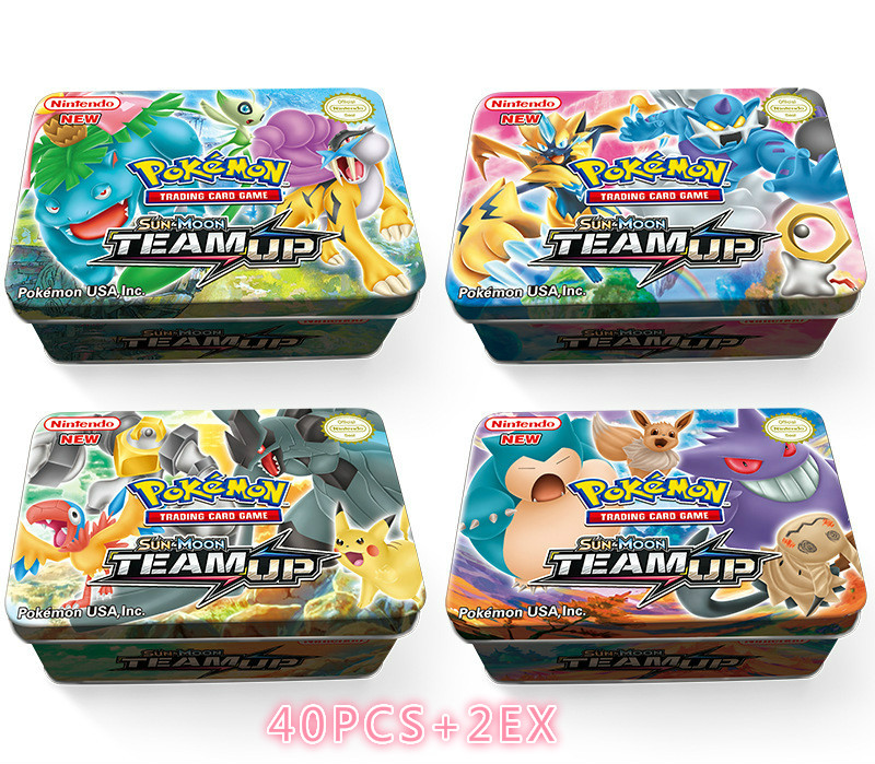 42 Stks /set Pokemon Cards  Iron Box TAKARA TOMY Battle Games Hobby Hobby Collectibles Game Collection Anime Cards For Children