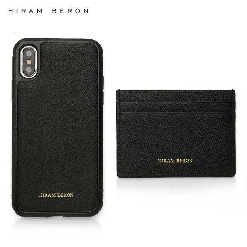 Hiram Beron personnalisé personnalisé noir hommes portefeuille porte-cartes et étui de téléphone ensemble pour iphone 11 Pro Max produits de luxe livraison directe