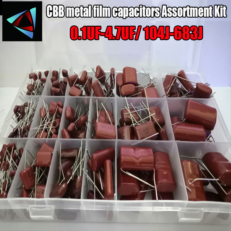 24 valores 344 pces 63v 100v 250v 400v 450v 1250v 2000v 3000v 0.1 v 4.7uf-uf 104j-683j cbb metal film capacitores sortimento kit com