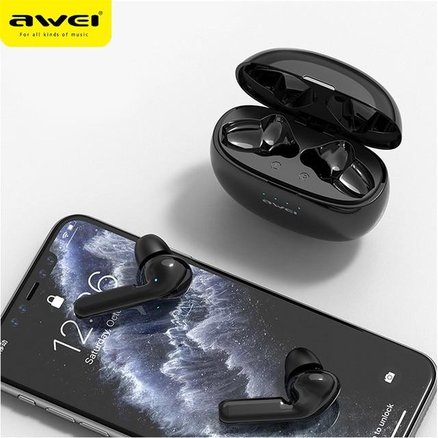 2020 AWEI plus récent T15 Bluetooth 5.0 casque TWS sans fil écouteurs stéréo avec micro suppression de bruit HiFi jeu casque