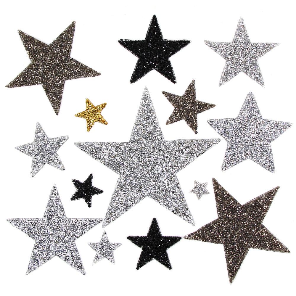 Стразы со звездами, смешанные размеры, нашивки, нашивки с вышивкой, термо-Стикеры для одежды, 5 видов цветов, блестки, нашивки для одежды, сделай сам