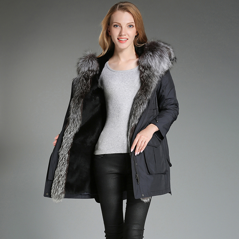 Fur Rabbit Natural Liner Parka Real Fur Coat Winter Jacket Women Fox Fur Collar Long Jackets For Women Warm Outwear MY S