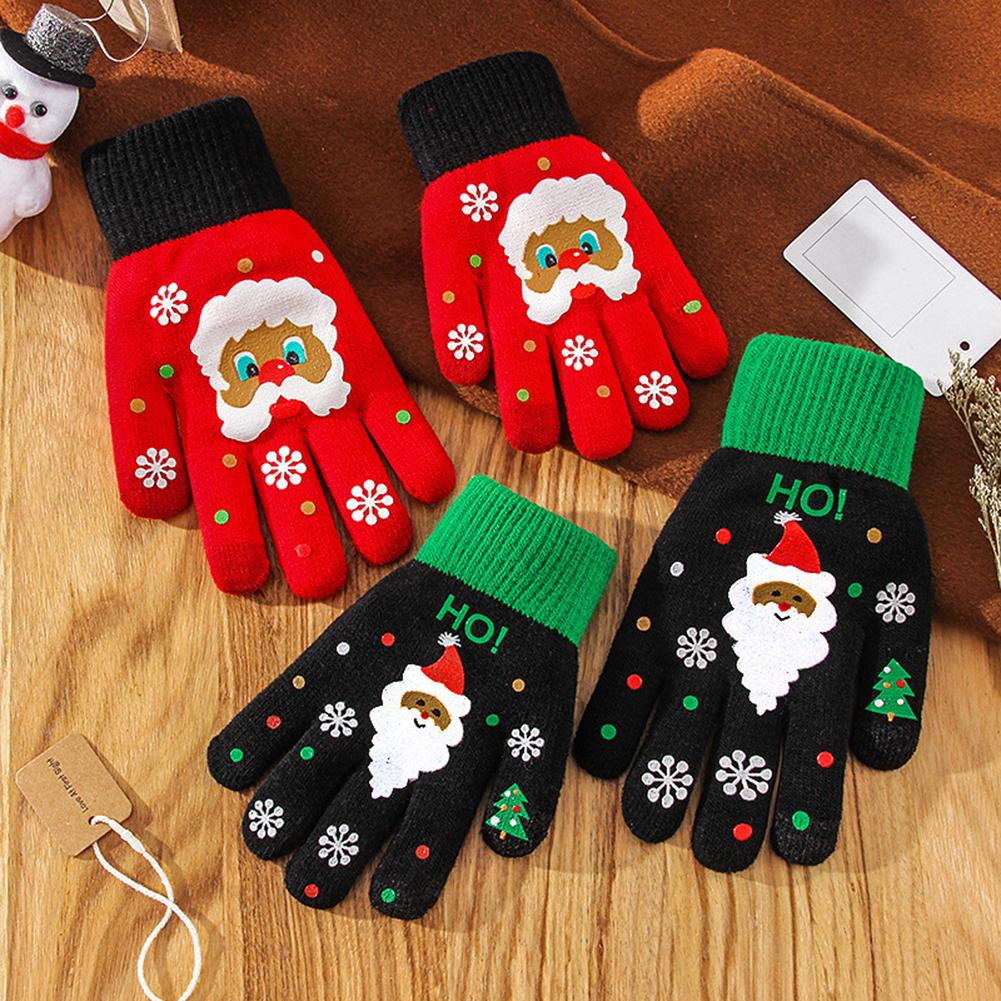 Cute Kid Adult Lovely Cartoon Santa Claus Touch Screen Full Finger Warm Stretch Knitted Gloves Mittens Xmas Gift For Friend