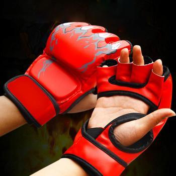 Adult MMA Boxing Sandbag Fight Combat Training Faux Leather Half Finger Gloves Tools for Muay Thai Karate Muay Free Fight Sanda 1