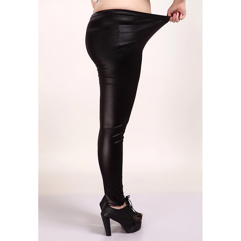 2020 Spring Autumn Fashion Faux <font><b>Leather</b></font> <font><b>Sexy</b></font> Yoga Pants Thin Black Sport Fitness Yoga Pants Stretchy Plus Size <font><b>4XL</b></font> 5XL image