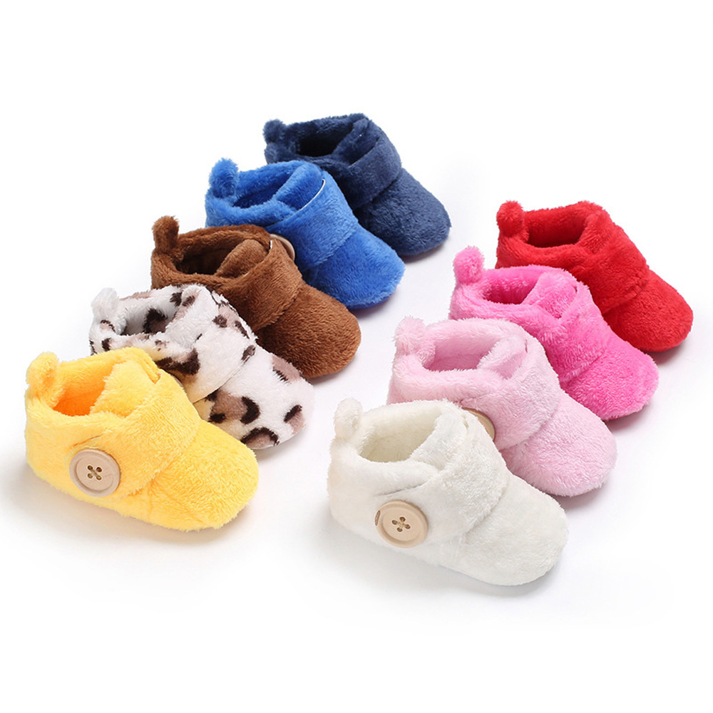 Newborn Boy Girl Baby Booties Ankle Socks Shoes Warm Flock Toddler Prewalker Boot Cotton Winter Soft Anti-slip Infant Crib Shoes