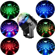 Luces LED RGB de 3W con efectos para escenario, luces estroboscópicas giratorias con sonido activado para DJ, fiestas, discotecas y fiestas, para fiesta en casa, navidad