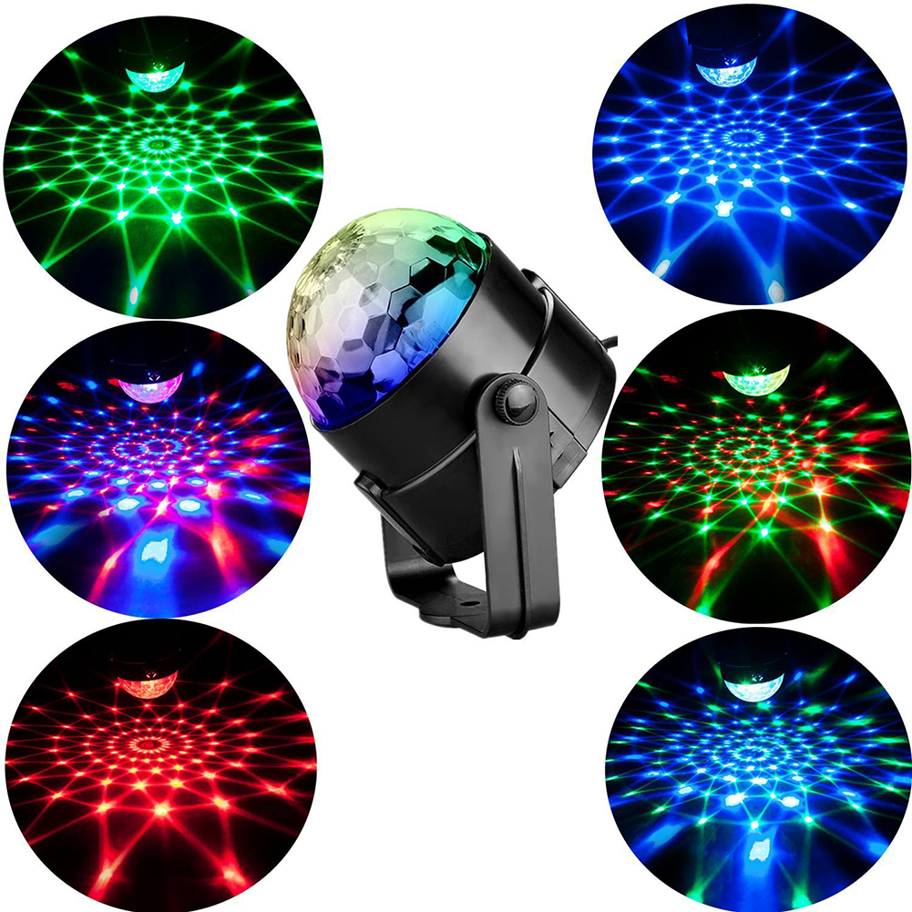 3W RGB LED Stage Effect Lights Sound Activated Rotating Bean DJ Disco Ball Party Strobe Lights For Home Party Christmas Xmas