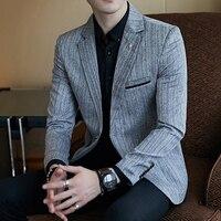 Plus size 5XL Men Slim Suit Jacket Masculino Black Gray Single Button Business Men's Suit Jacket Retro Stripes Mens Brand Blazer
