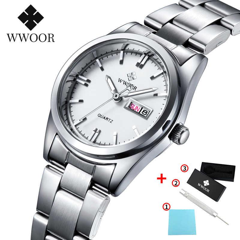 Montre Femme 2020 WWOOR แบรนด์แฟชั่นธุรกิจควอตซ์ผู้หญิงนาฬิกานาฬิกาผู้หญิงนาฬิกากันน้ำ Silver White นาฬิกาวันที่นาฬิกาข้อมือผู้หญิง
