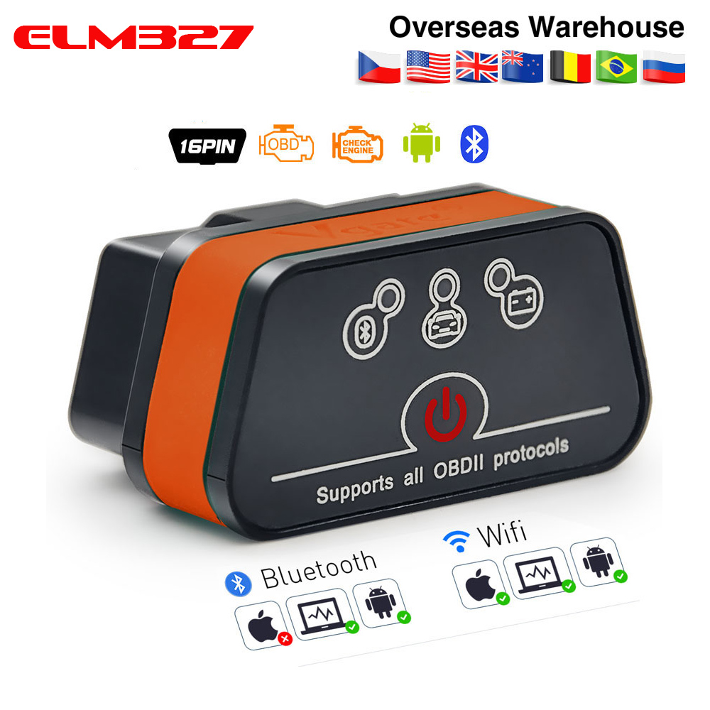 Vgate iCar2 ELM327 Wifi Bluetooth OBD2 Diagnostic Tool for IOS iPhone Android PC icar 2 Bluetooth wifi ELM 327 OBDII Code Reader