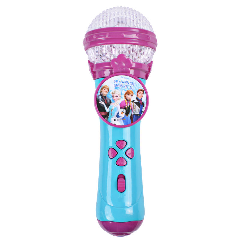 Genuine Disney Frozen Cute Microphone For Children Musical Instruments Light Music Microphone Education Toy Kids Gift Original