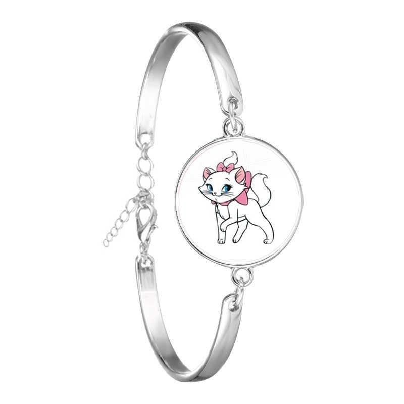 Anime Kartun Aristocats Kaca Cabochon Gelang Cute Perhiasan Marie Kucing Fashion Rantai Gelang untuk Wanita Pria Kids Hadiah