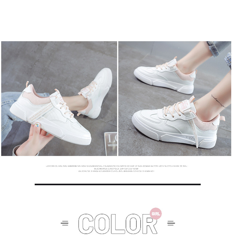 SWQZVT Summer Autumn Sneakers Women Breathable Flat Lace-up Women Vulcanize Shoes White Walking Leather Female Casual Shoes 2020 (14)