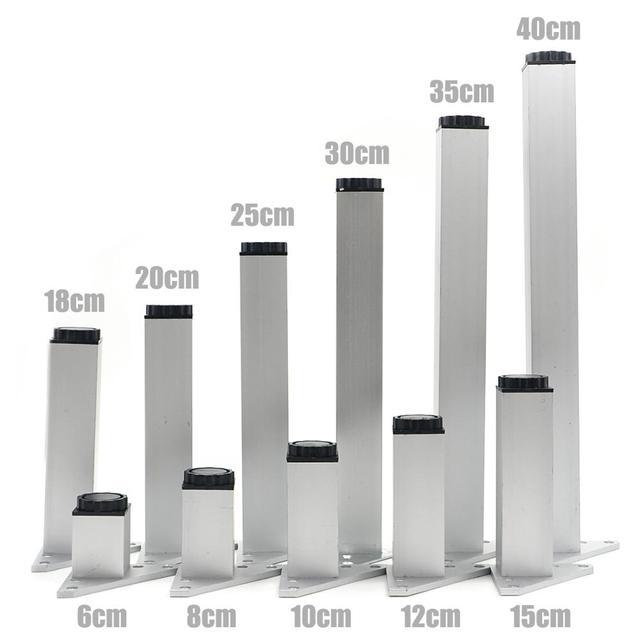 4 ピース/セット 6 40 センチメートルアルミ金属家具脚キャビネット足テーブル用のネジで調整可能なトライアングルベーステーブルソファベッドキャビネット