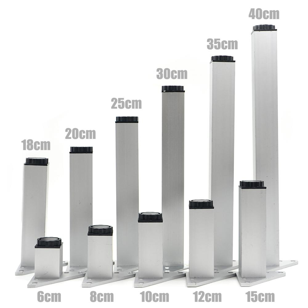 4pcs 12cm Furniture Legs Cabinet Feet Aluminum Metal Table Adjustable Triangle Base with Screws