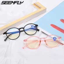 Seemfly Anti Blue Light Clear Round Optical Glasses Frames Computer Men Women Goggles TR90 Spectacles Eyeglasses Oculos De Grau