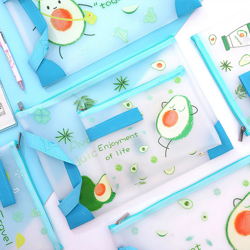 Fruit Avocado TPU Student File Bag Pencil Case File Folder Documents Filling Bag Office School Suppllies Stationery Bag