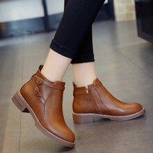 Dwayne autumn martin boots female round toe ankle boots side zipper double belt
