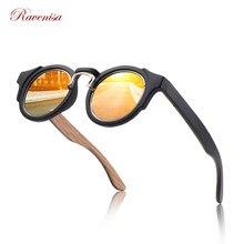 Ravenisa-lunettes de soleil rétro pour hommes et femmes, rondes, en bambou, bleues, effet miroir, faites à la main, collection 2020
