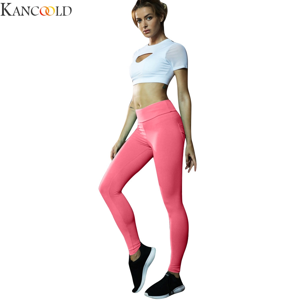 KANCOOLD Women Pocket Stitching High-waist Fitness Running Yoga Nine-minute Pants Women Yoga Pants Running Sports Wear Stretchy