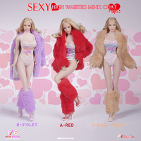 Female Sexy High Waisted Fur Coat Clothes Set for female body figure toy 1/6 Scale Sexy woman Fire Girl Toys FG053