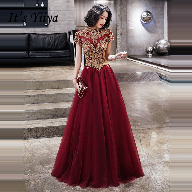 It's Yiiya Evening Dresses Women Elegant Gold Embroidery Lace Party Gowns Plus Size Burgundy Short Sleeve Robe De Soiree LF006
