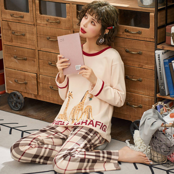 Pajamas Women's Spring And Autumn 6535 Cotton Long Sleeve Trousers Korean-style Women's Summer Thin Section Nursing Home Wear Tw