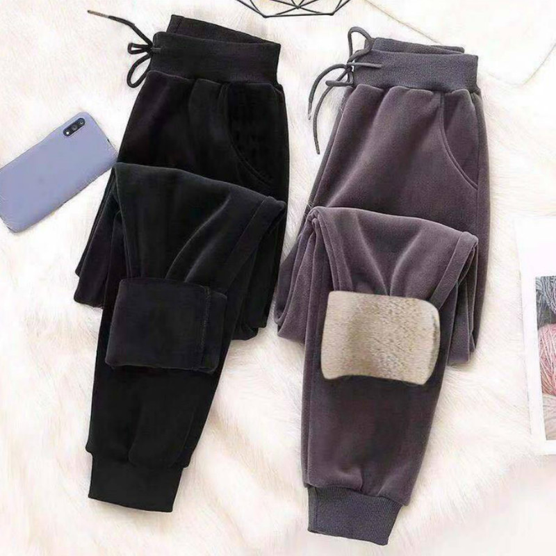 Hot Gray Black Plus Thick Lamb Velvet Plush Sweatpants Women Harem Trousers Loose Casual Winter Thicken Cashmere Sport Pants