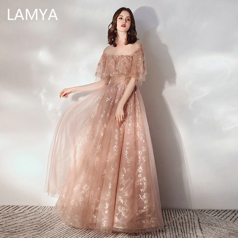 LAMYA 2020 Crystal Neck Evening Party Dresses Princess Long Elegant Tulle Formal Dress Sexy Robe De Soiree Evening Prom Gowns