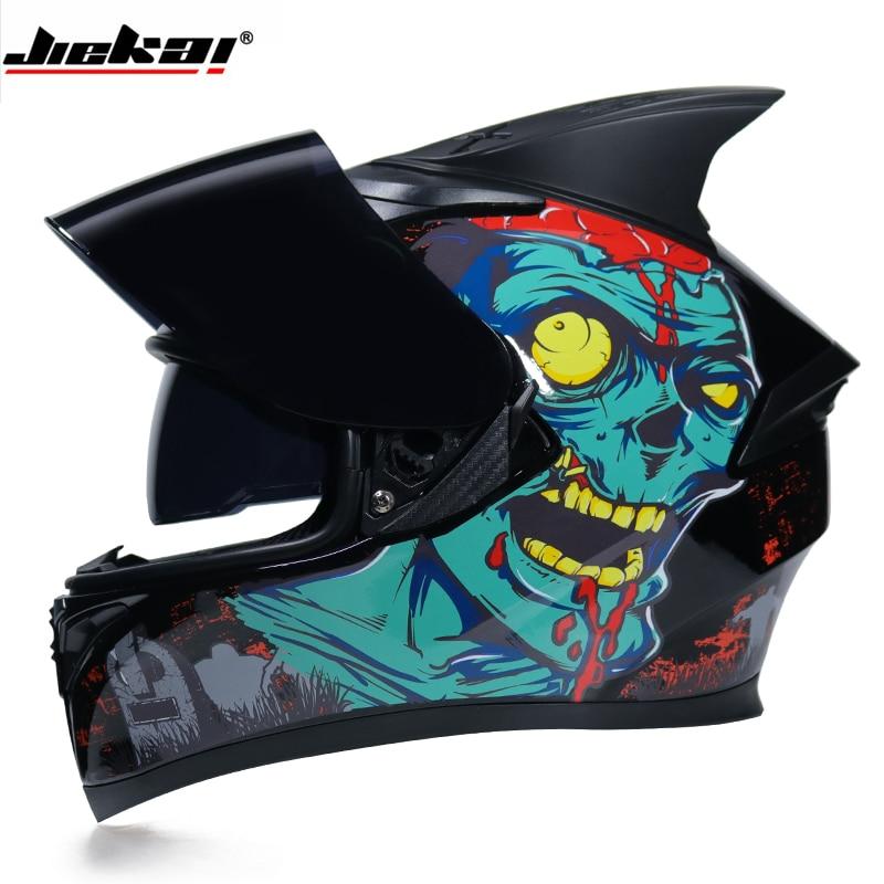 Racing helmet Man Women Casco Capacete Full Face Motorcycle Helmet motorcross winter helmets With Personality Horn