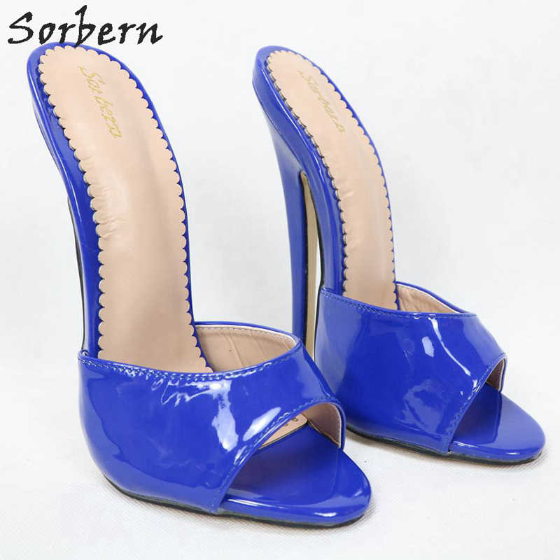 Sorbern Sexy sandały patentowe na łóżku dla żony 18Cm twardy spacer kobiety kapcie Slip On z wystającym palcem letnie buty szpilki niestandardowe kolory