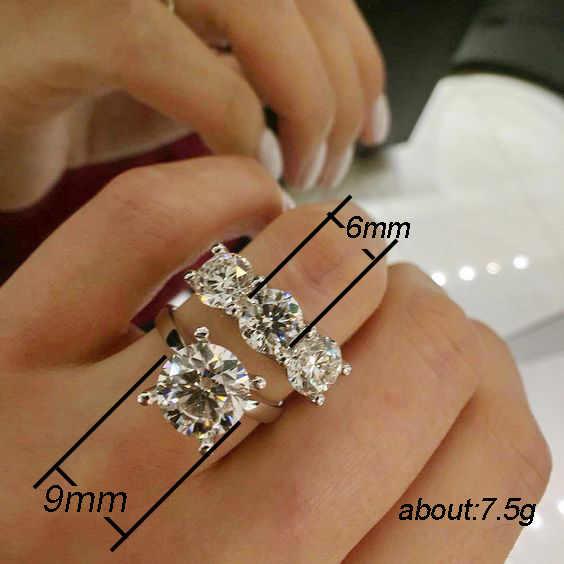 Solitaire pierścień zestawy 925 Sterling silver okrągły AAAAA cz oświadczenie Party Wedding Band pierścionki dla kobiet dla nowożeńców zestaw modna biżuteria na prezent