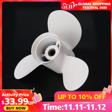 664 45949 02 EL Marine Boat Outboard Propeller 9 7/8 x 13 Aluminum Alloy For Yamaha 20 30HP Right hand Rotation 3 Blades White