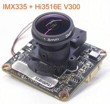 """Lente de ojo de pez de 5MP H.265 / H.264 1/2.8 """"SONY STARVIS IMX335 CMOS + Hi3516E V300 cámara IP CCTV Módulo de placa PCB + cable LAN + IRC"""