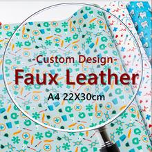 O couro sintético feito sob encomenda do falso imprimiu a4 30 cm x 22 cm para a tela material dos ofícios de diy