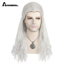 Anogol Geralt z Rivii Wig Long Water Wave Silver White Synthetic Cosplay