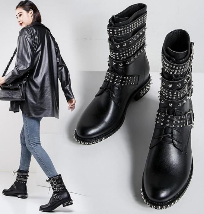 Botas de cuero tachonadas con remaches para motocicleta con hebilla de punta redonda para mujer botas al tobillo estilo punk botas de montar - 4