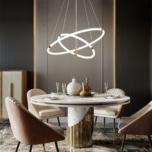 Golden Brushed 3 Rings LED Chandelier Living Dining Room Nordic Simplicity Lustre Ceiling Lamp Indoor Lighting Fixtures