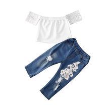 Модные комплекты одежды для маленьких девочек эластичная белая