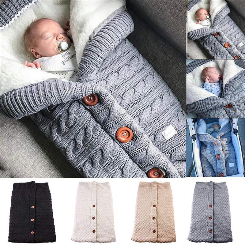 Winter Newborn Sleeping Blanket Swaddling Stroller Wrap Toddler Blanket Warm Sleeping Bags Infant Button Knit Swaddle Wrap
