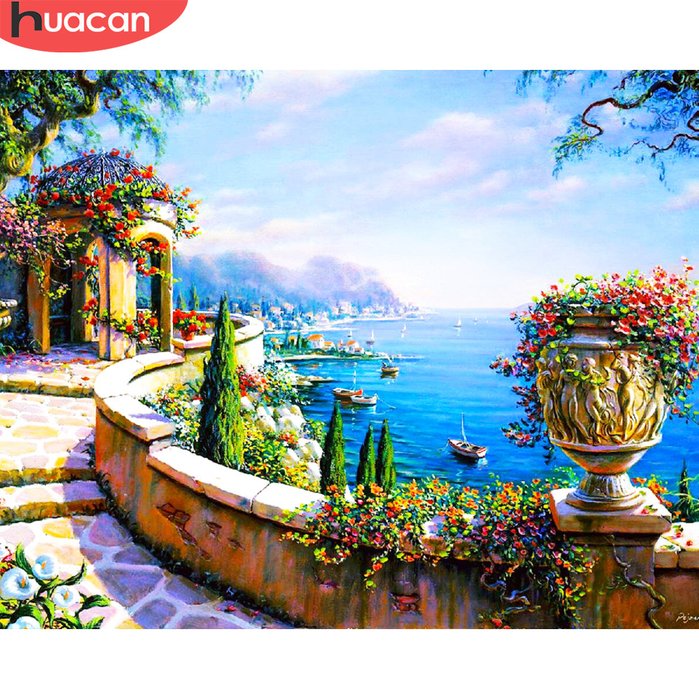HUACAN Paint By Numbers Seaside Scenery Kits Drawing Canvas HandPainted Gift DIY Oil Painting Flower Landscape Pictures
