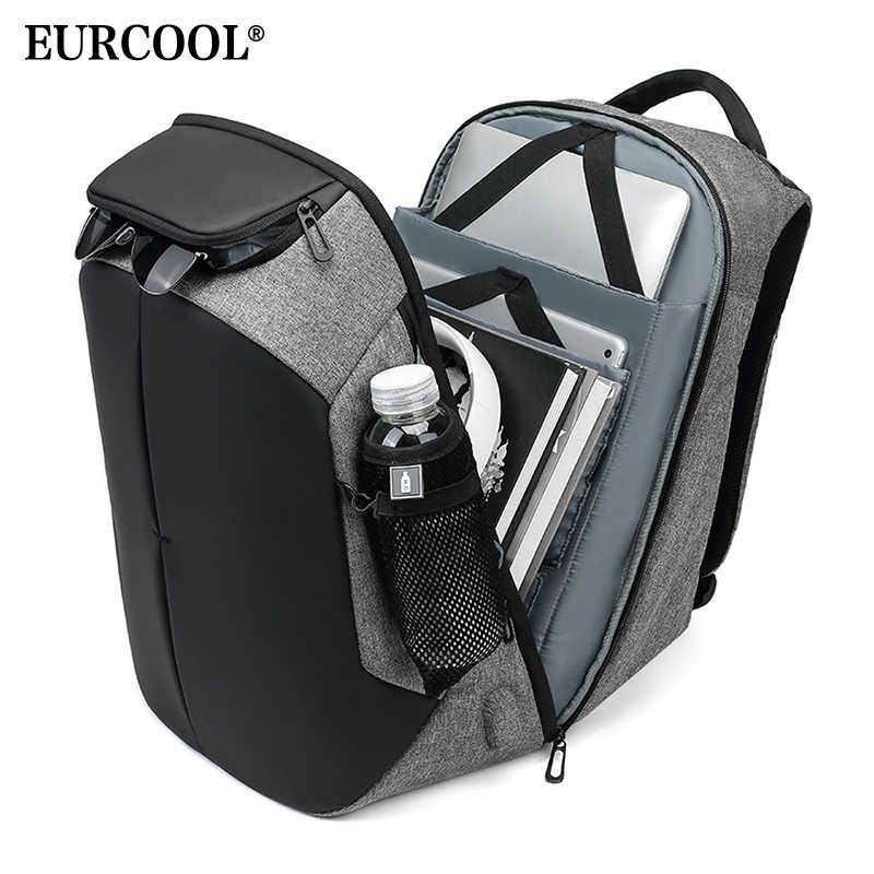 EURCOOL mochila de viaje para hombre multifunción bolsas de gran capacidad USB de carga de 15,6 pulgadas mochilas para ordenador portátil repelente al agua n0005