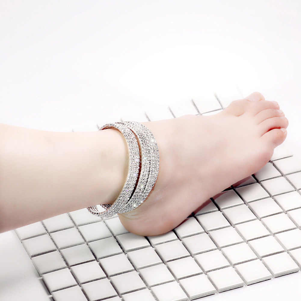 Shining คริสตัล Rhinestone Anklets สำหรับผู้หญิงข้อเท้าสร้อยข้อมือขาสร้อยข้อมือ Layered Anklet เท้า enkelbandje
