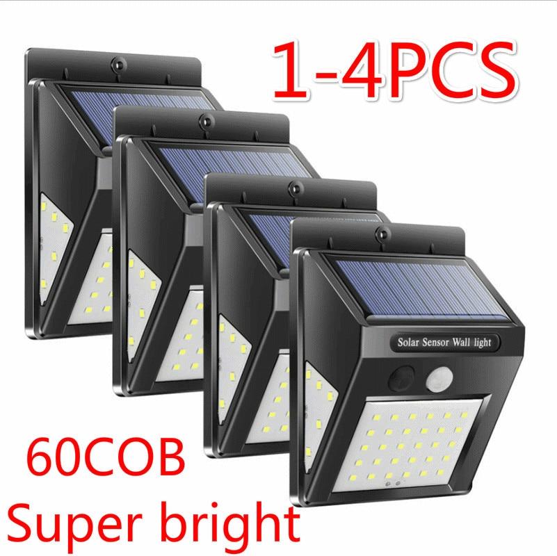 4pcs 30/60 LED Solar Power Lamp  Saving Street Garden Yard Security  PIR Motion Sensor Wall Light Outdoor Waterproof Energy Lamp